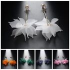 Women Elegant White Ear Stud Crystal Flower Drop Long Dangle Earrings Jewelry image