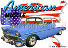 1956 Blue Chevy 210 Sedan Custom Hot Rod USA T-Shirt 56 Muscle Car Tee's