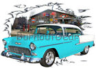 1955 Blue Chevy Bel Air H T Custom Hot Rod Garage T-Shirt 55 Muscle Car Tee's