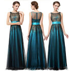 UK Womens Long Mesh Applique Prom Formal Party Maxi Dress Evening Gown Blue 8740