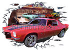 1971 Red Chevy Camaro Z28 b Custom Hot Rod Diner T-Shirt 71 Muscle Car Tees
