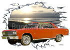 1964 Red Chevy Chevelle a Custom Hot Rod Sun Set T-Shirt 64 Muscle Car Tees