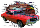 1971 Red Chevy Chevelle SS a Custom Hot Rod Diner T-Shirt 71 Muscle Car Tees