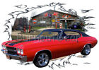 1970 Red Chevy Chevelle e Custom Hot Rod Diner T-Shirt 70 Muscle Car Tees