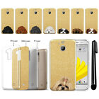 "For HTC Bolt 10 Evo 5.5"" Dog Design Sparkling Gold TPU Silicone Case Cover + Pen"
