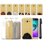For Samsung Galaxy J3 J310 J320 Dog Sparkling Gold Silicone Case Cover + Pen