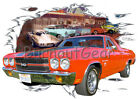 1970 Red Chevy El Camino Custom Hot Rod Diner T-Shirt 70 Muscle Car Tee