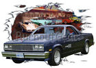 1983 Blue Chevy El Camino a Custom Hot Rod Diner T-Shirt 83 Muscle Car Tees