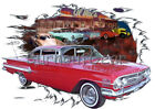 1960 Red Chevy Impala b Custom Hot Rod Diner T-Shirt 60 Muscle Car Tees