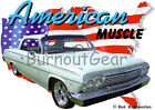 1962 Green Chevy Impala Custom Hot Rod USA T-Shirt 62 Muscle Car Tees