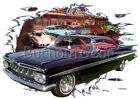1959 Black Chevy Impala Custom Hot Rod Diner T-Shirt 59 Muscle Car Tees