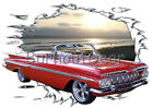 1959 Red Chevy Impala Convertible a Custom HotRod SunSet T-Shirt 59 Muscle Car T