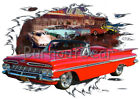 1959 Red Chevy Impala Convertible b Hot Rod Diner T-Shirt 59 Muscle Car Tees