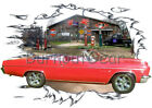 1966 Red Chevy Impala Convertible Custom Hot Rod Garage T-Shirt 66 Muscle Car T