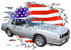 1985 Silver Chevy Monte Carlo b Custom Hot Rod USAT T-Shirt 85 Muscle Car Tees