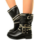 Biker Bottes Basic Femmes Cuir Military Boots Motard Bottines Rock Italy 5625