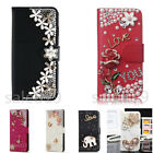 Bling Rhinestone Crystal Card Wallet PU Leather Stand Case Cover For Cell Phones
