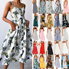 UK Womens Holiday Off Shoulder Floral Sundress Ladies Summer Beach Party Dress