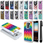 "For Alcatel Revvl A30 Fierce 2017 5.5"" Studded Bling HYBRID Case Cover + Pen"