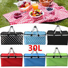 30L Large Folding Insulated Thermal Cooler Bag Picnic Camping Lunch Storage Box