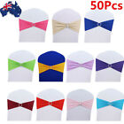 AU 50pcs Spandex Stretch Wedding Party Chair Cover Band Sashes Buckle Bow Slider
