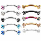 16G Crystal CZ Gem Steel Eyebrow Ring Bar Curved Barbell Body Piercing Jewelry