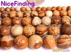 """Natural Round Faceted Yellow Picture Jasper Stone Beads For Jewelry Making 15"""""""