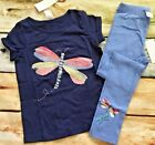 Gymboree Wildflower Weekend Outlet Dragonfly Sequin Top Blue Leggings NWT 6 7 8