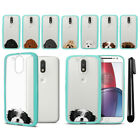 "For Motorola Moto G4/ G4 Plus 5.5"" Dog Skin Clear Teal Bumper Case Cover + Pen"