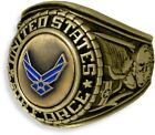 US AIR FORCE SIGNET WITH CAST BRONZE INSIGNIA RING 18K GOLD (GP) & RHODIUM