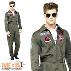 Top Gun Aviator + Glasses Mens Fancy Dress Military 1980s Adults Costume Outfit