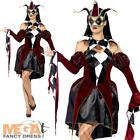 Gothic Venetian Harlequin Ladies Fancy Dress Carnival Jester Women Adult Costume