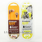 Skullcandy Riot Ink'd In-Ear Headphones Headset w/Mic Hot Lime & Burgundy Brown
