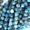 """Star Cut Faceted Blue Apatite Round Beads 15"""" Strand Diamond Cut 6mm 8mm 10mm"""