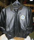 US Air Force Insignia Leather Jacket MA-1 Bomber Style USAF Motorcycle Biker