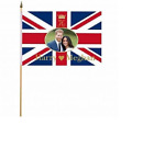 "1, 6 or 12 Pack of Royal Wedding Harry and Meghan Hand Waving Flags 12"" x 18"""