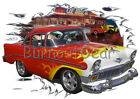 1956 Red Flames Chevy Shorty Custom Hot Rod Diner T-Shirt 56 Muscle Car Tee's