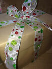 CHRISTMASSY Glitter dots Red & Green on sheer organza- Luxury Wire Edge Ribbon