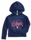 Tommy Hilfiger Girls Flag Blue Pullover Graphic Print Pullover Hooded T-Shirt