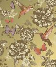 Coloroll Utopia Wallpaper - Gold M1042 - Shabby Chic - Floral  Birds Butterflies