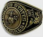 US MARINE CORPS SIGNET WITH CAST BRONZE INSIGNIA RING 18K GOLD (GP) & RHODIUM