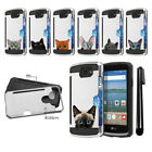 For LG Optimus Zone 3 VS425PP Cat Design Brushed Hybrid Phone Case Cover + Pen