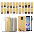 For LG Stylo 3 Plus Stylo 3 Stylus 3 Dog Design Sparkling Gold Case Cover + Pen