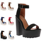 NEW WOMENS ANKLE STRAPPY LADIES SUMMER PLATFORM BLOCK HEEL SANDAL SHOES SIZE 3-8