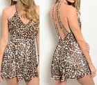 Brown Black Leopard Lined Chiffon Strappy Open Back Pleated Romper/Jumper 1 Pc