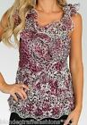 Plum Leopard/Embro Chiffon Ruffle Sleeveless/Tank Top