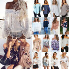Women Off The Shoulder Floral Long Sleeve Tops T-Shirt Loose Casual Blouse Shirt