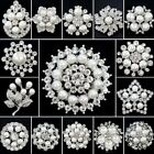 Wedding Bridal Bouquet Pearl Sliver Flower Brooch Pin Women Costume Jewelry Gift