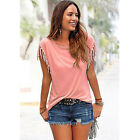 Women's Summer Tassels Tops Tee Shirts Ladies Casual Short Sleeve T-Shirt Blouse