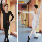 2 Colors Men's Ballet Dance Unitards Tights Practice Leotard Long Sleeves 6 SZs